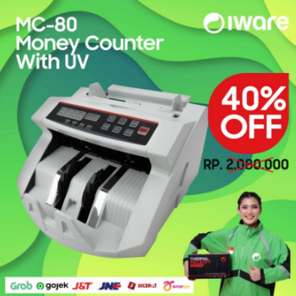 MESIN PENGHITUNG UANG IWARE MC-80 MONEY BILL COUNTER WITH MAGNETIC