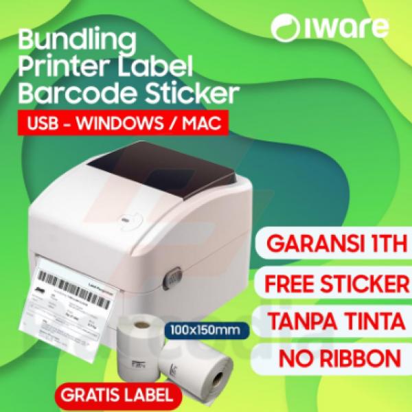 BUNDLING Printer Barcode Label Xprinter 420B + Kertas Sticker A6 108MM - USB
